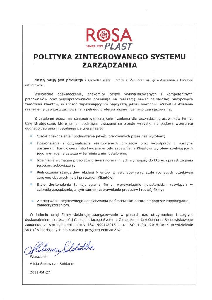 Polityka Zintegrowanego Systemu Zarządzania 2021