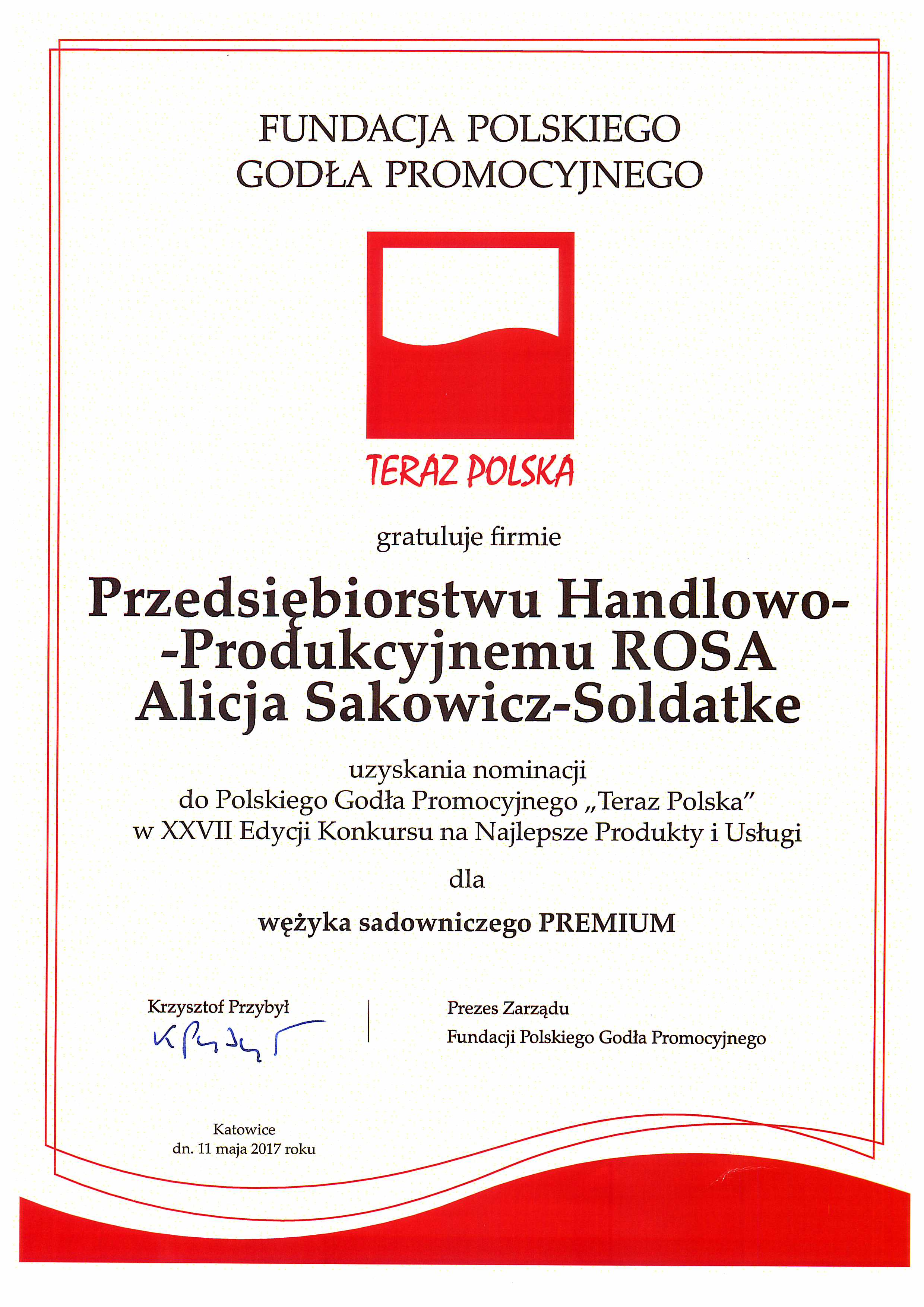 PREMIUM tubing hose NOMINATED to TERAZ POLSKA